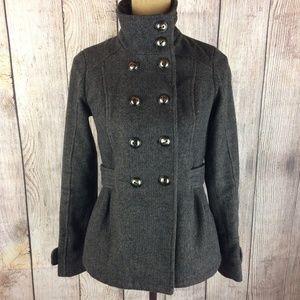 Pink Envelope Button Front Wool Pea Coat Sz XS